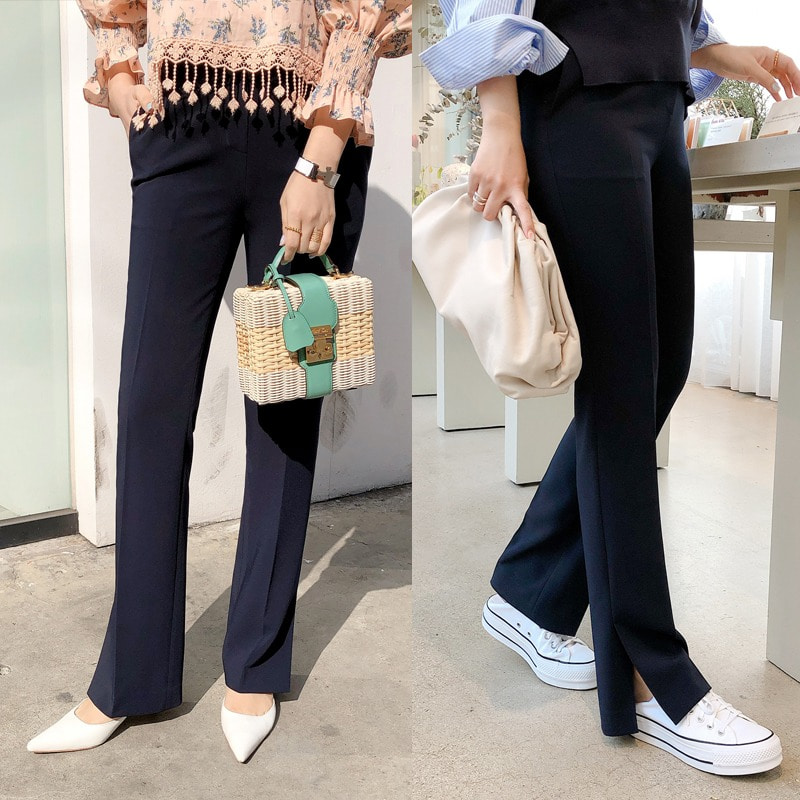 bloggerbok signature slit slacks(navy)