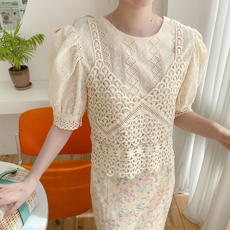 bustier lace blouse(2color)