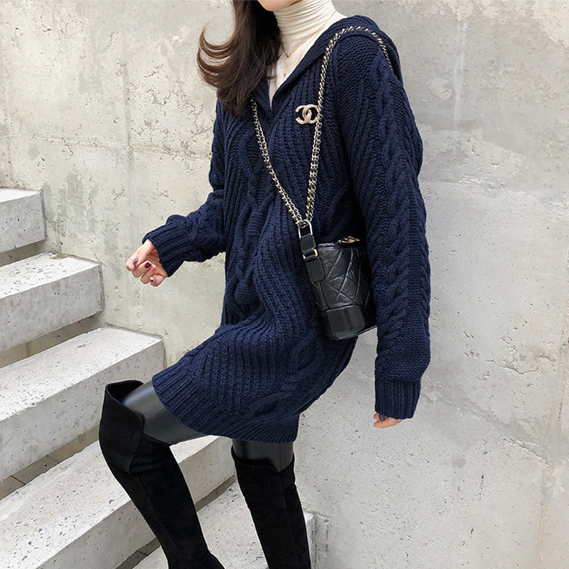 25% sale.블로거복 단독/chanel cable knit dress
