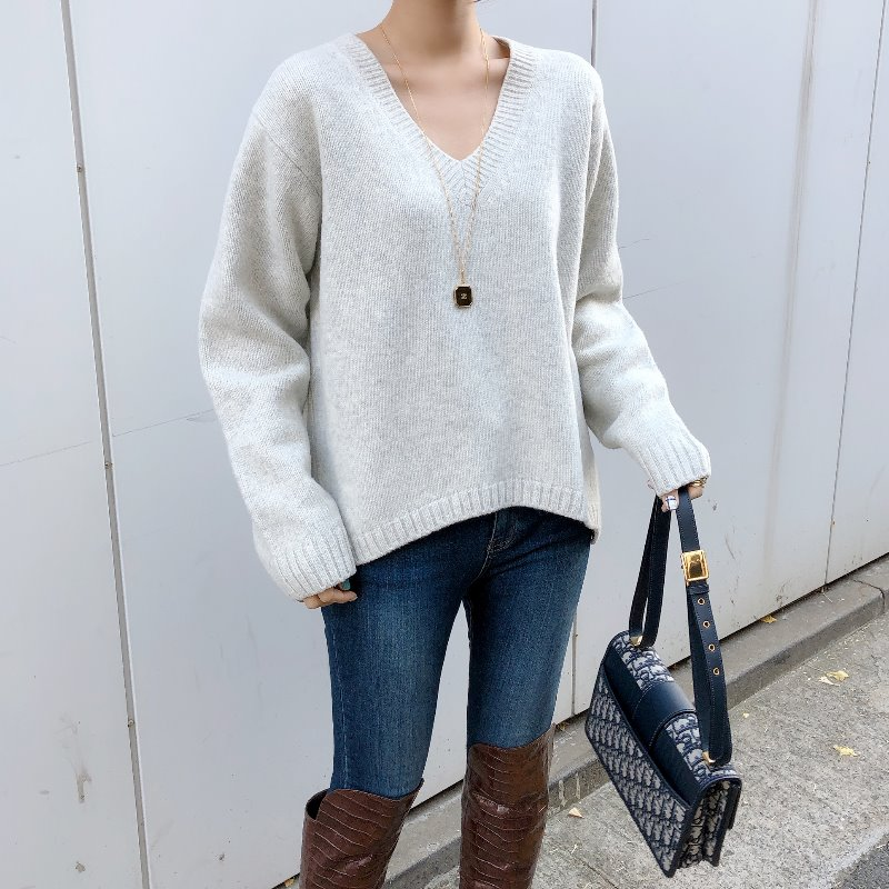 acne soft v neck knit(2color)