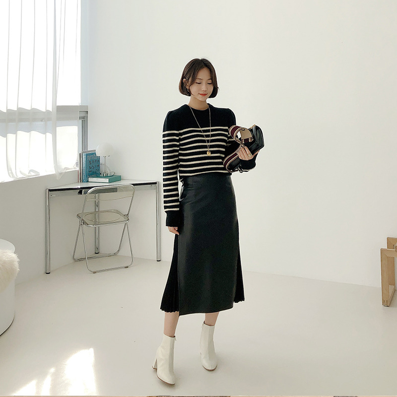 puff merinowool knit(black)