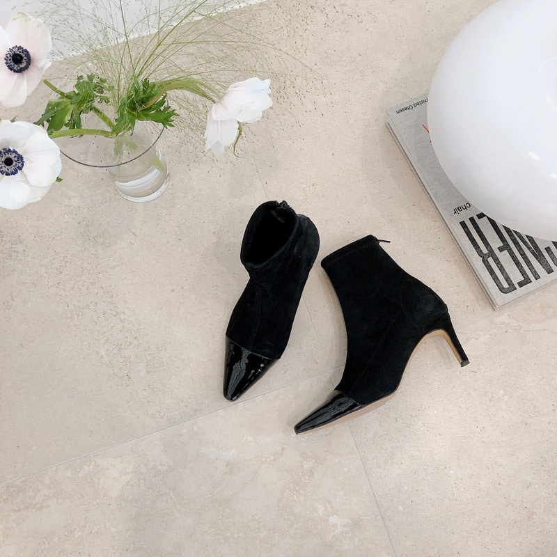 bloggerbok two tone span suede ankle boots