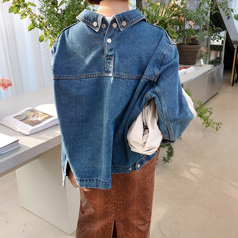 (2차수량♥)bloggerbok back point denim jacket