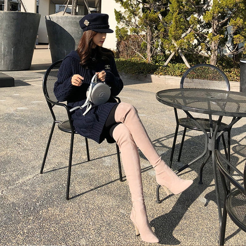 slim fit thigh-high boots