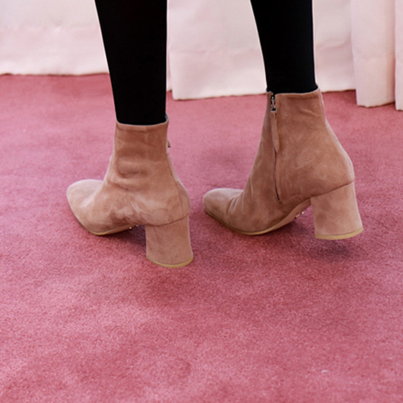 square suede ankle boots