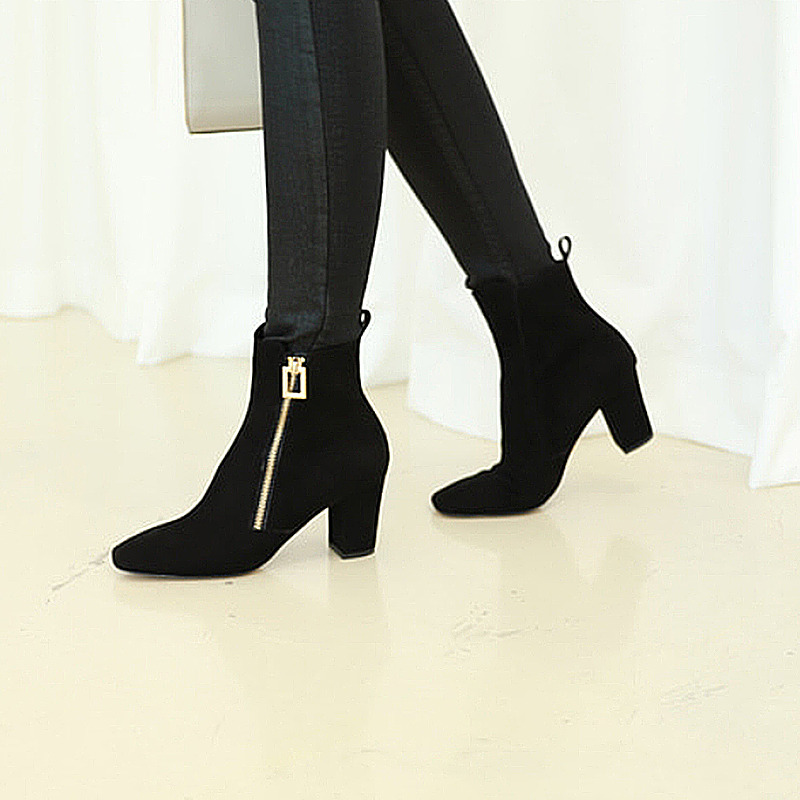 square zipper suede ankle boots