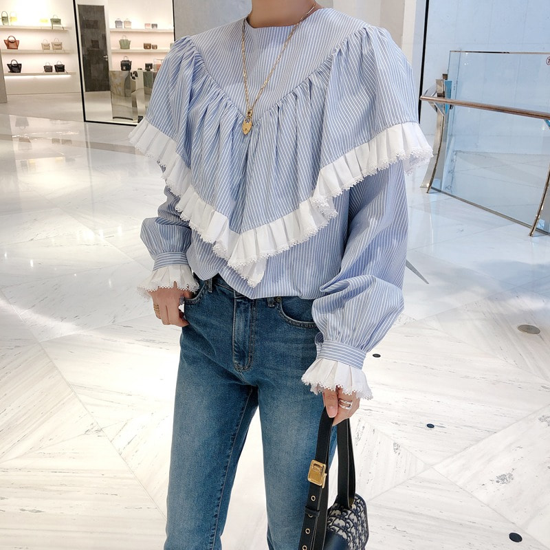 pleat deatil stripe blouse