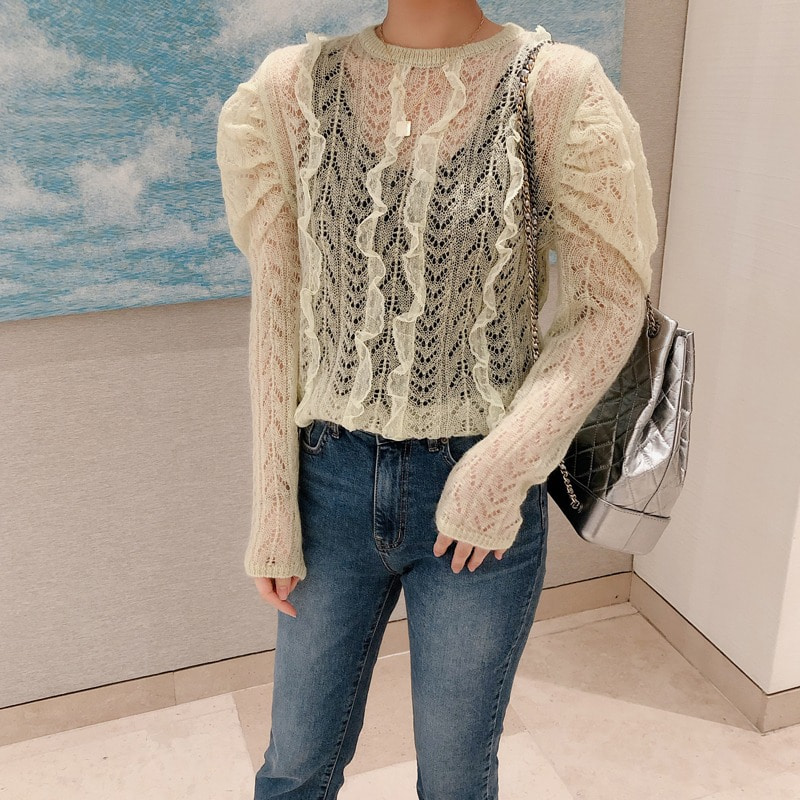 eyelet puff knit(lime)