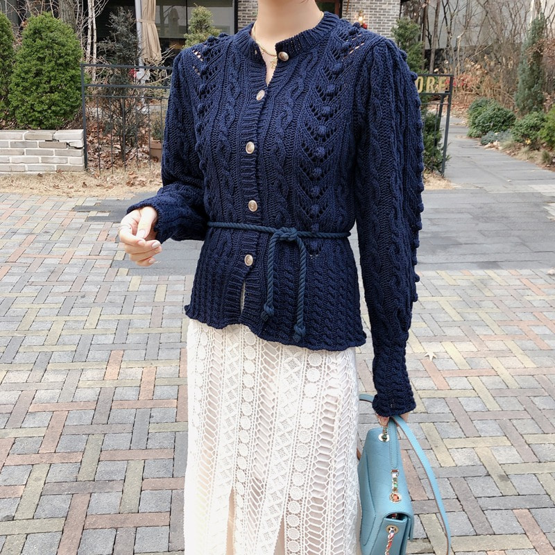 berry puff knit cardigan