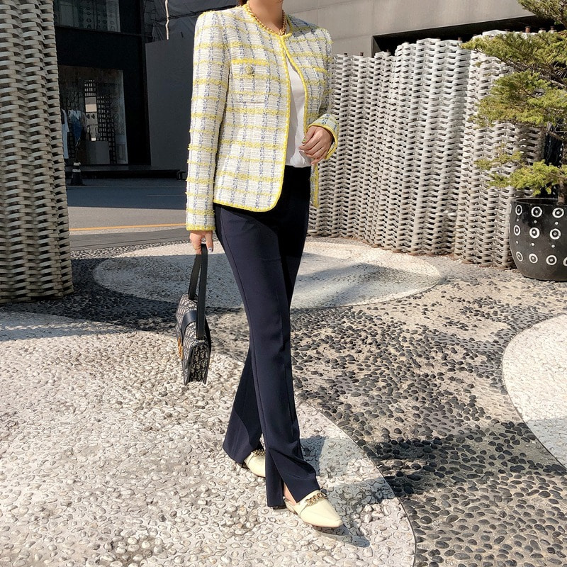 bloggerbok mello tweed jacket(lime)