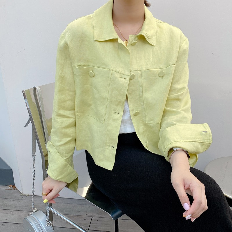 pocket linen shirt jacket(lime)