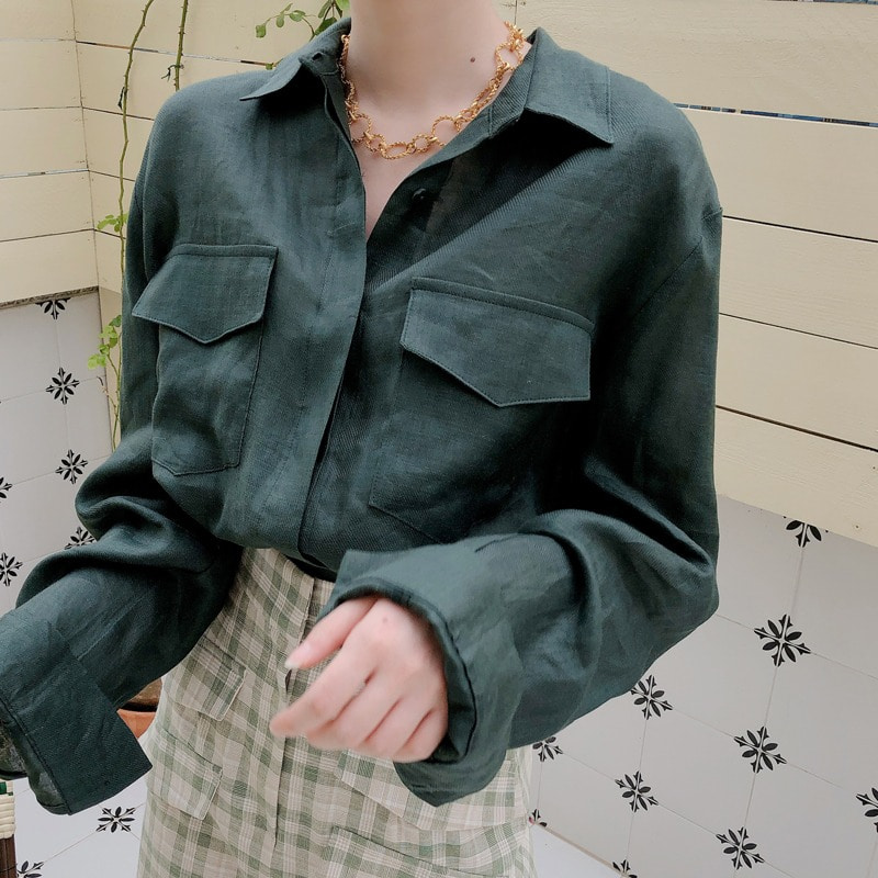 바배가능.단독진행/pocket silk linen shirt(green)