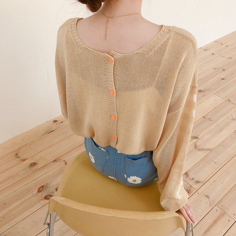summer button stripe cardigan(beige)