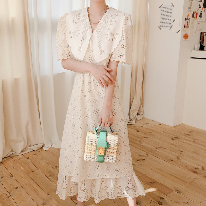 illy collar embroidery dress