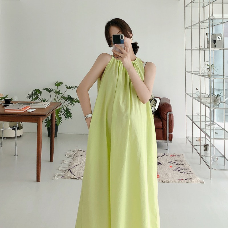 halter shirring dress(neon)