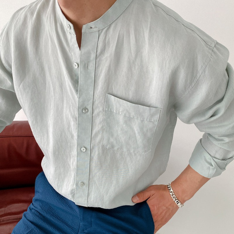 henly neck linen mans shirt(3color)