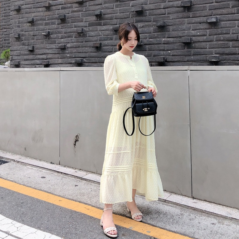 07일까지 할인진행/jardin pintuck chiffon dress(yellow)
