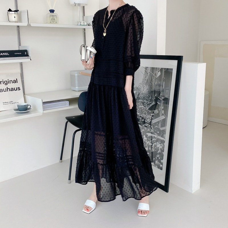 07일까지 할인진행/jardin pintuck chiffon dress(black)