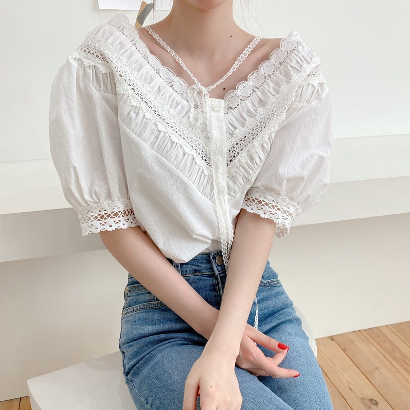 07일까지 할인진행♥ribbon point lace blouse