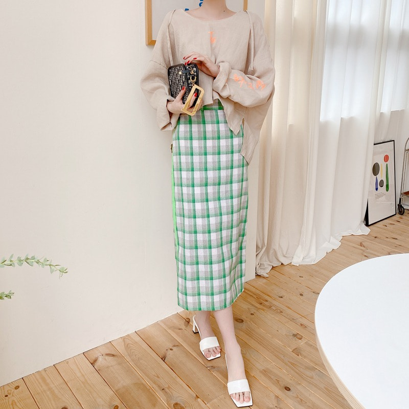 line linen check skirt(green)