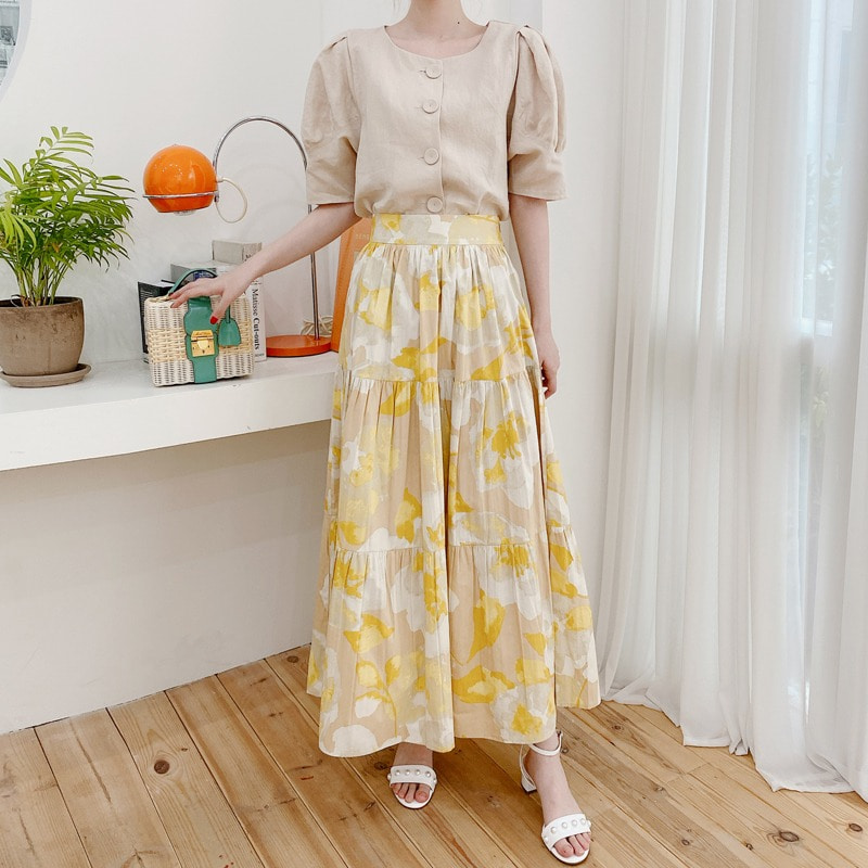 brilliant flower skirt(yellow)