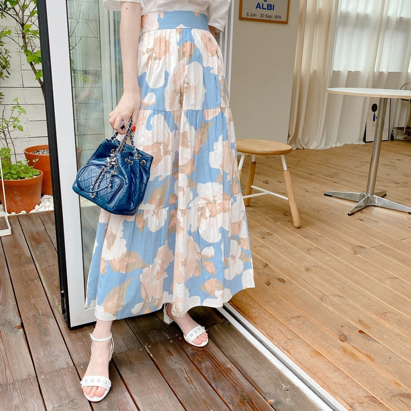 brilliant flower skirt(sky)