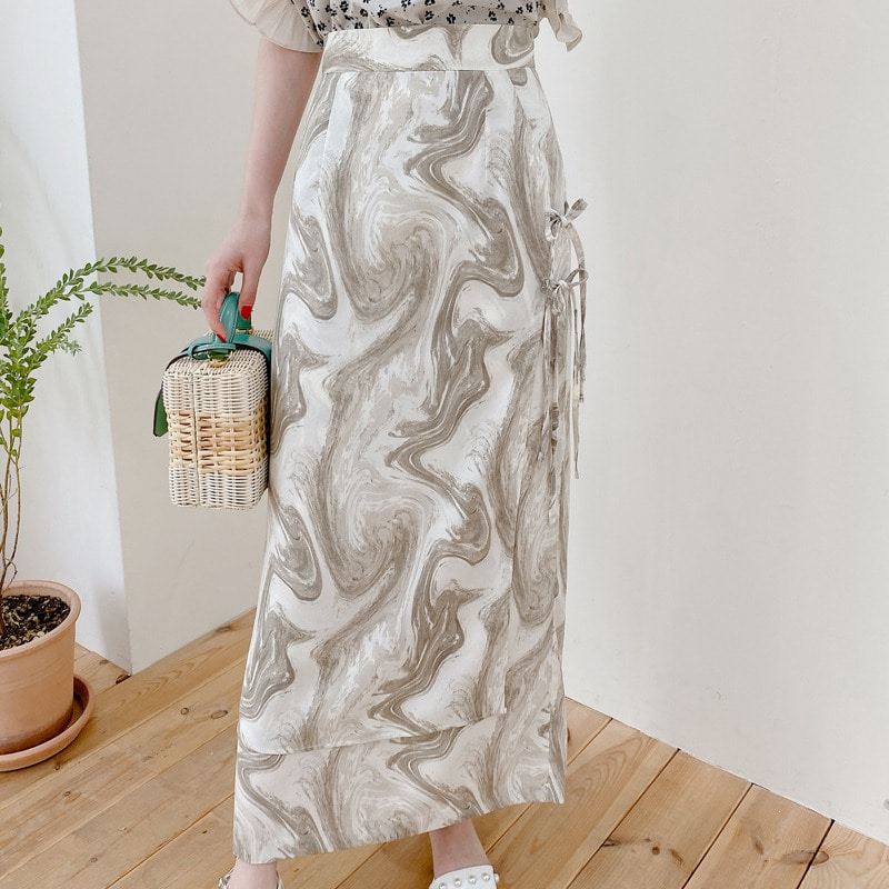 marbling ribbon skirt(gray)