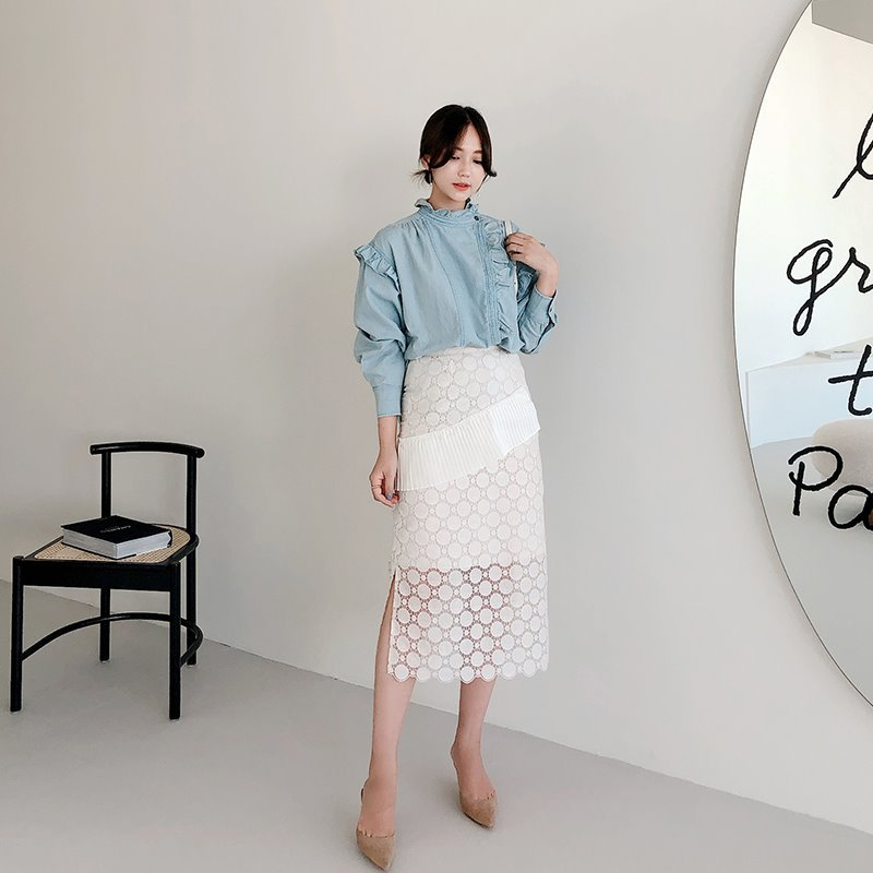 daily embroidery skirt(ivory)