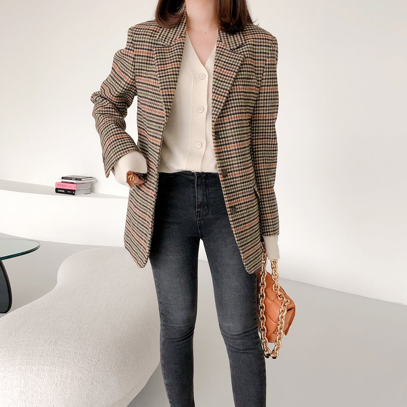 saint check wool jacket