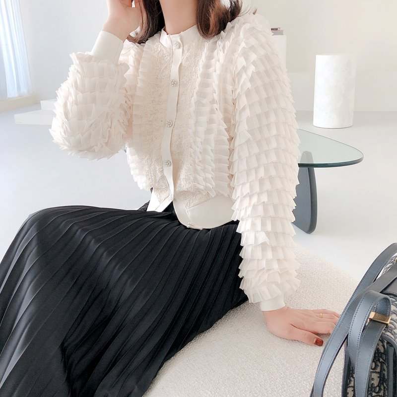 pleat pearl button cardigan(2color)