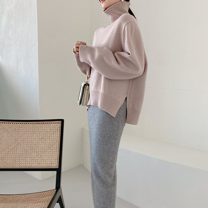 bloggerbok superfine wool turtleneck(gray pink)