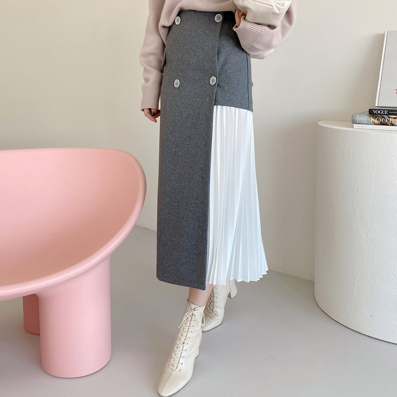 button pleat wool skirt