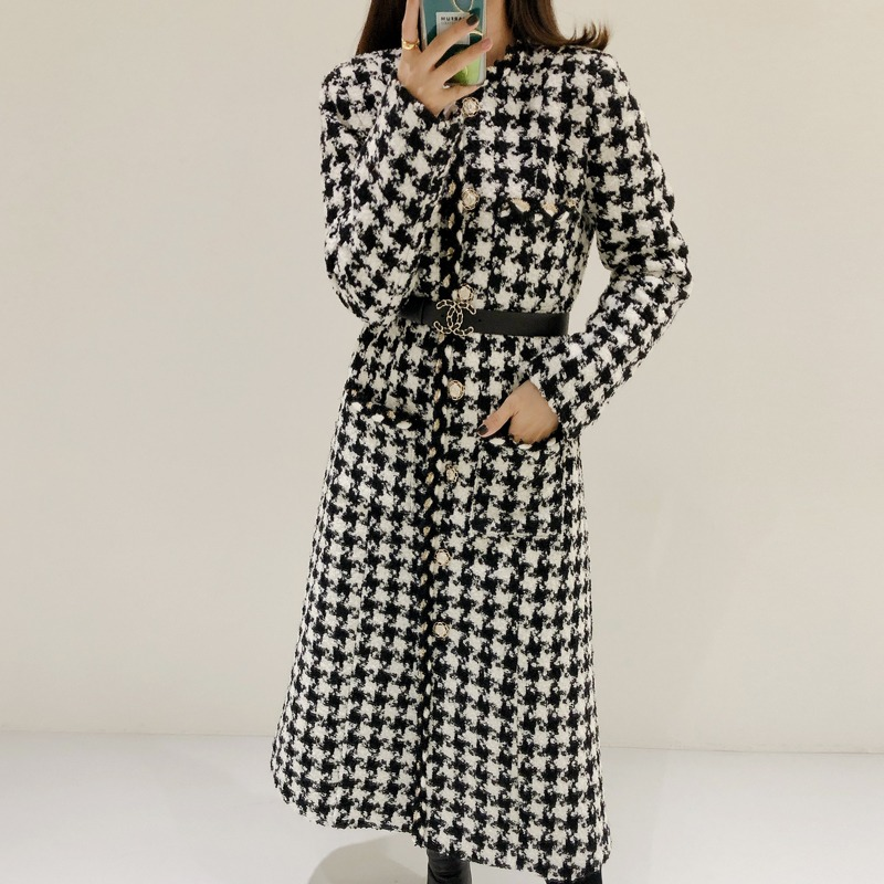coco houndstooth check coat