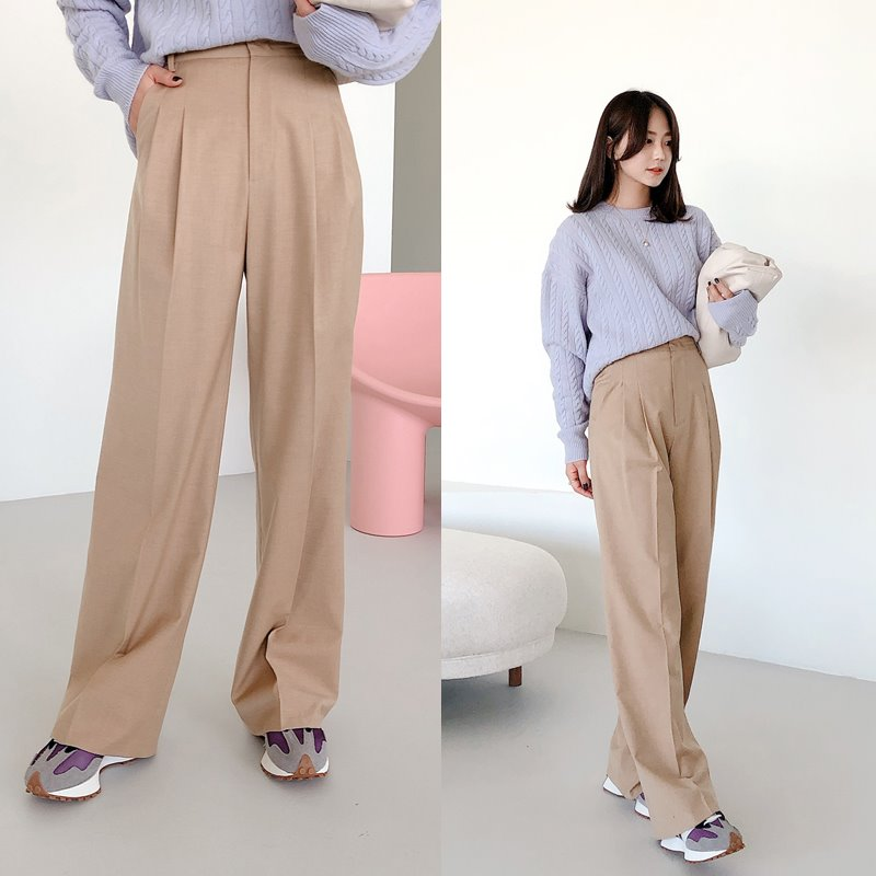 한정수량8%할인/bloggerbok perfect wide slacks(royal beige)