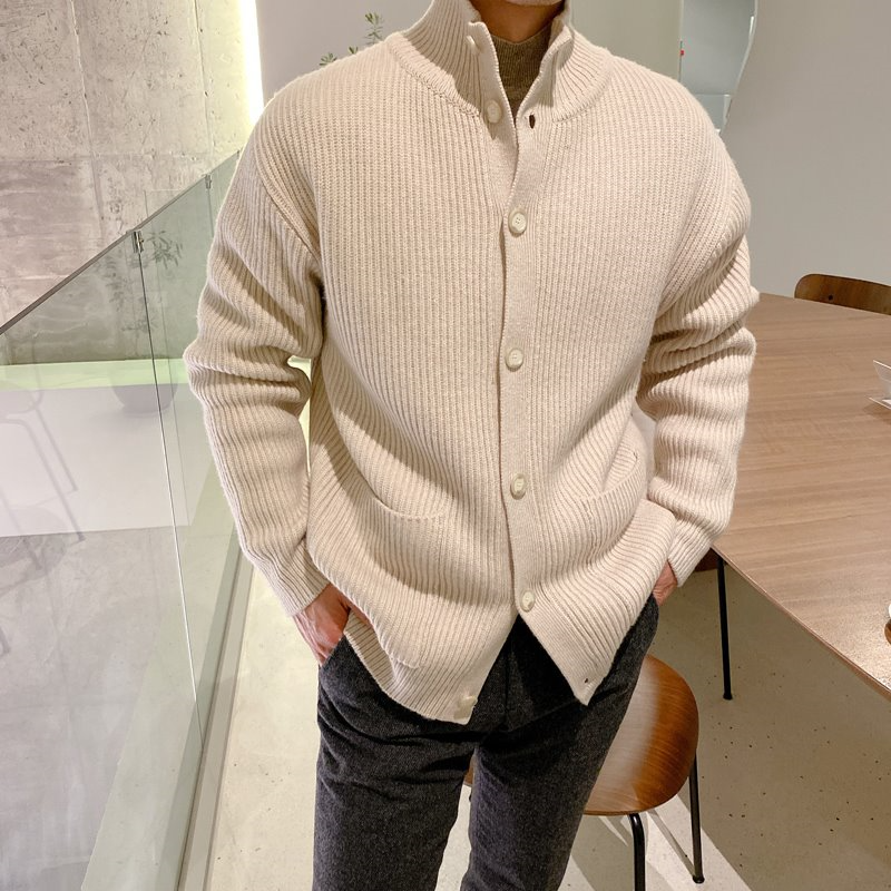 mans wool button cardigan(3color)