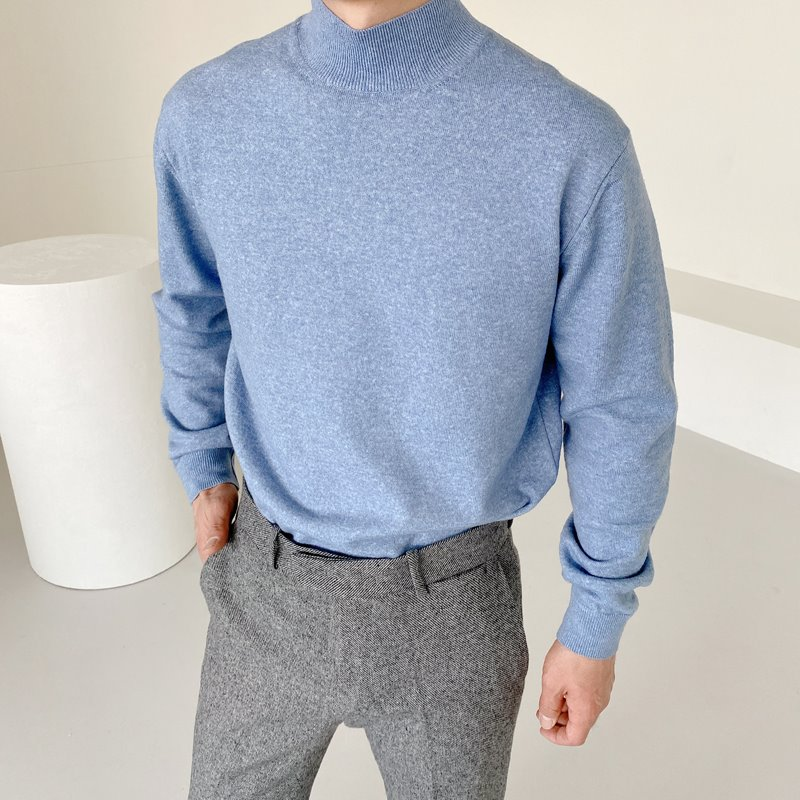 mans wool half neck knit(6color)