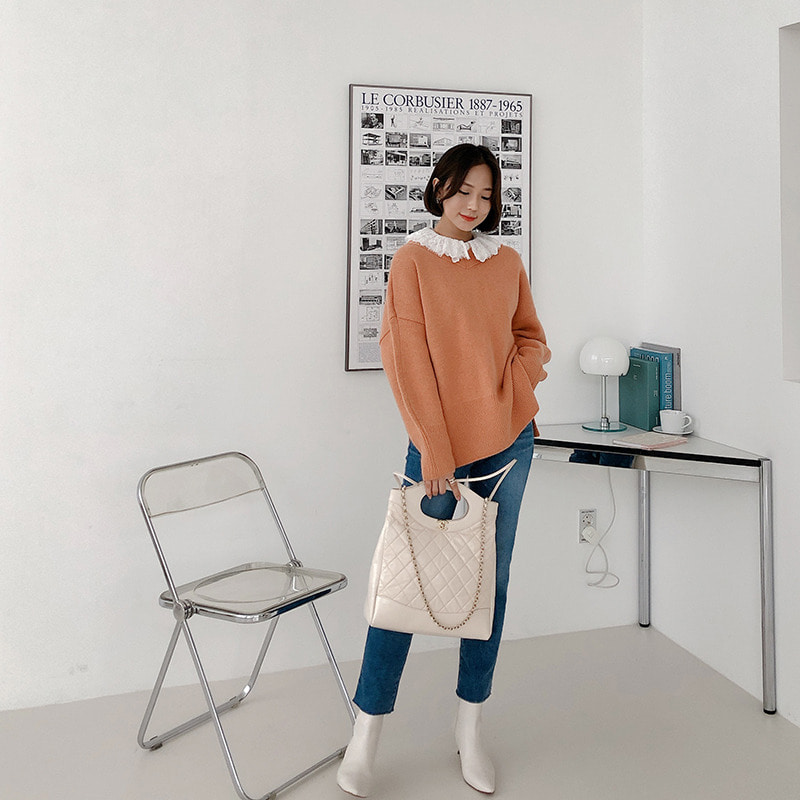 raccon fox button knit cardigan(orange)