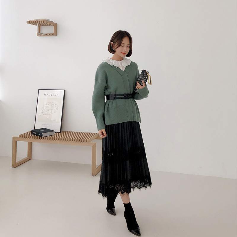 raccon fox button knit cardigan(green)