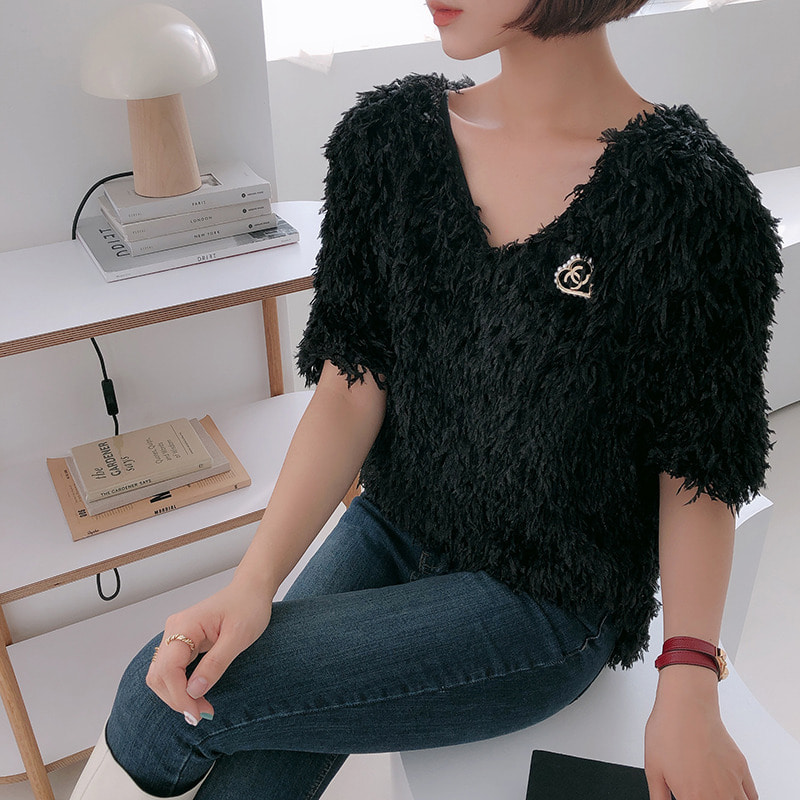 romantic feather blouse(black)