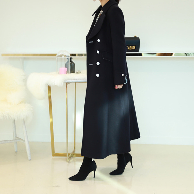 saint navy double maxi coat