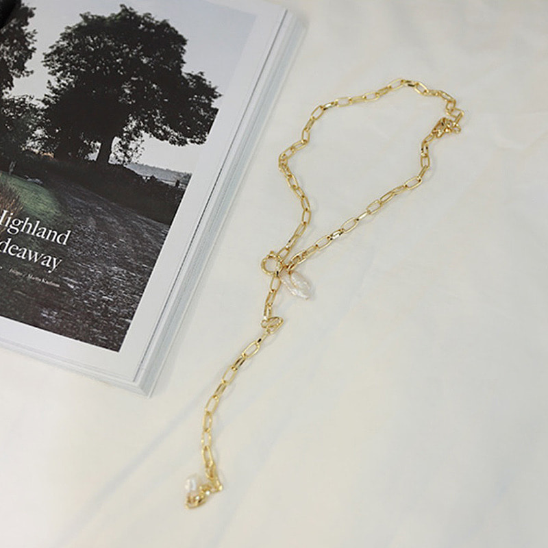 chain pearl t necklace