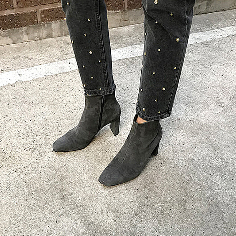 chic gray suede ankle boots