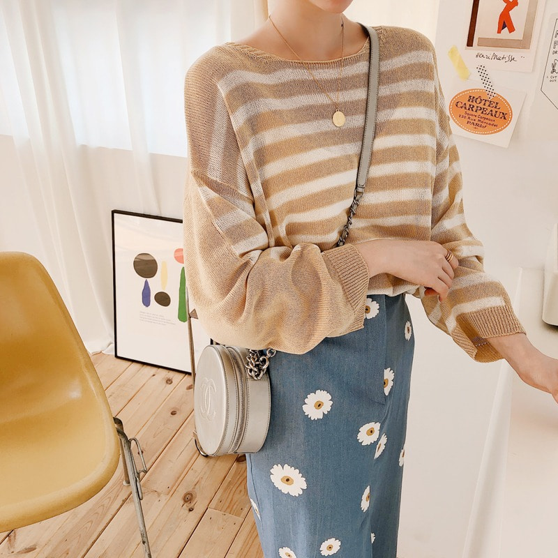 07일까지 앵콜진행/summer button stripe cardigan(beige)