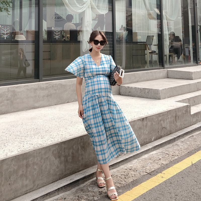 07일까지 앵콜진행/summer check dress(blue)