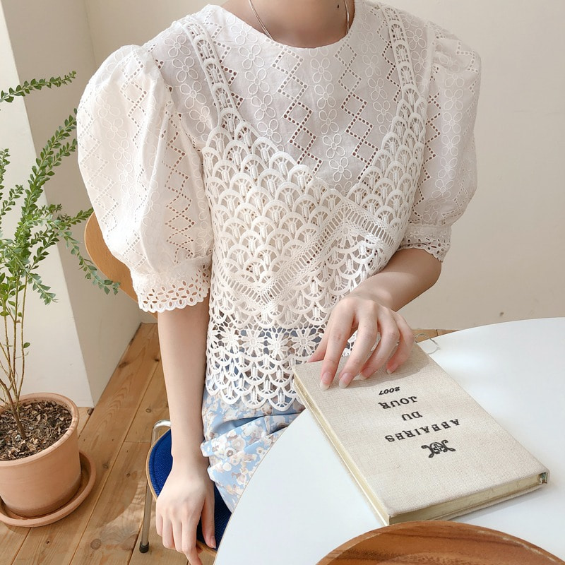 bustier lace blouse(ivory)