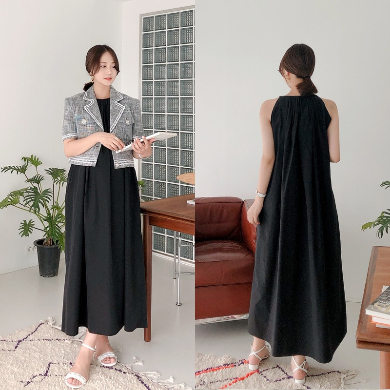 halter shirring dress(black)
