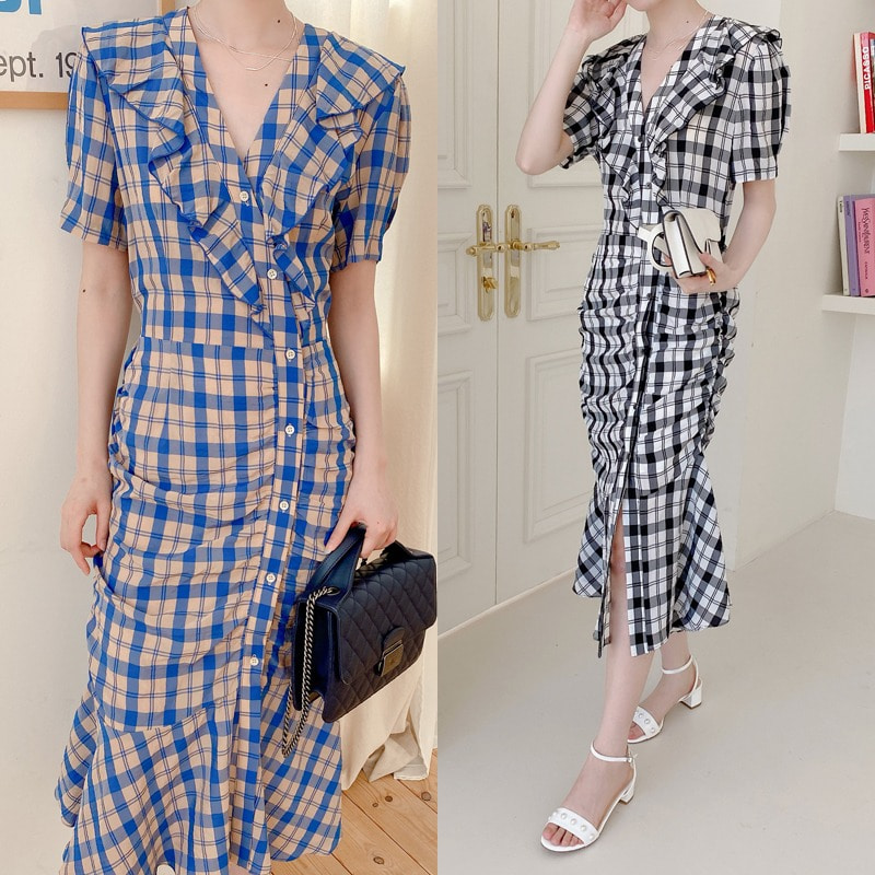shrring check button dress(2color)