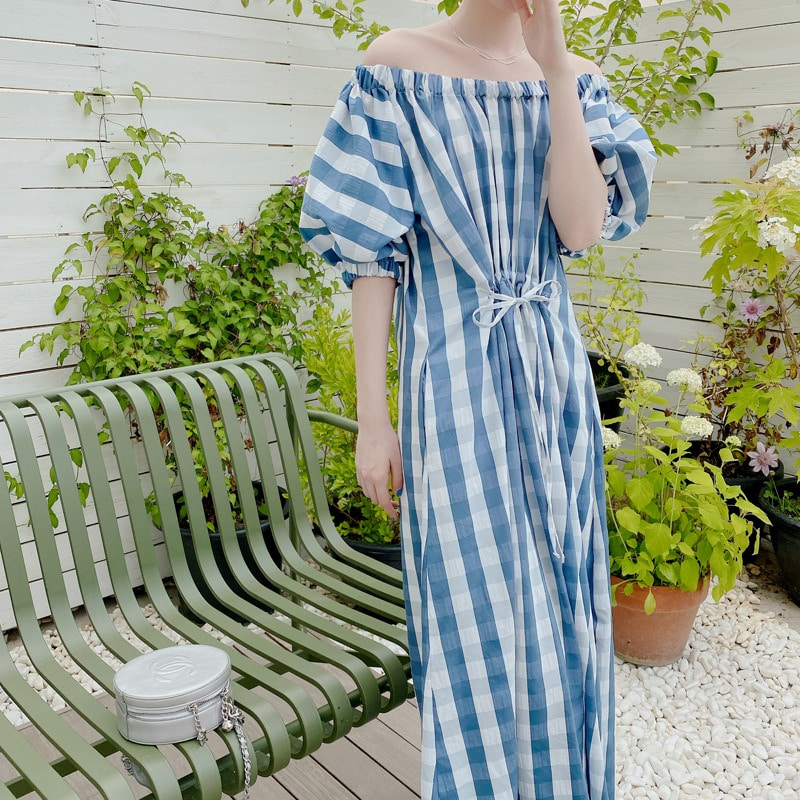 07일까지 할인진행/check off shoulder dress(blue)