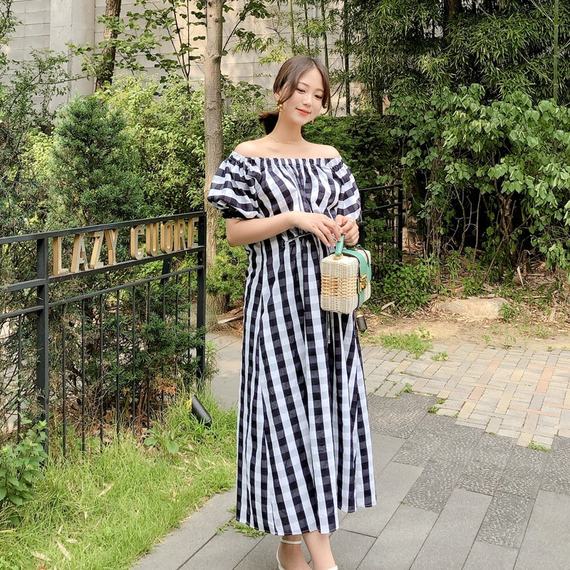 07일까지 할인진행/check off shoulder dress(black)