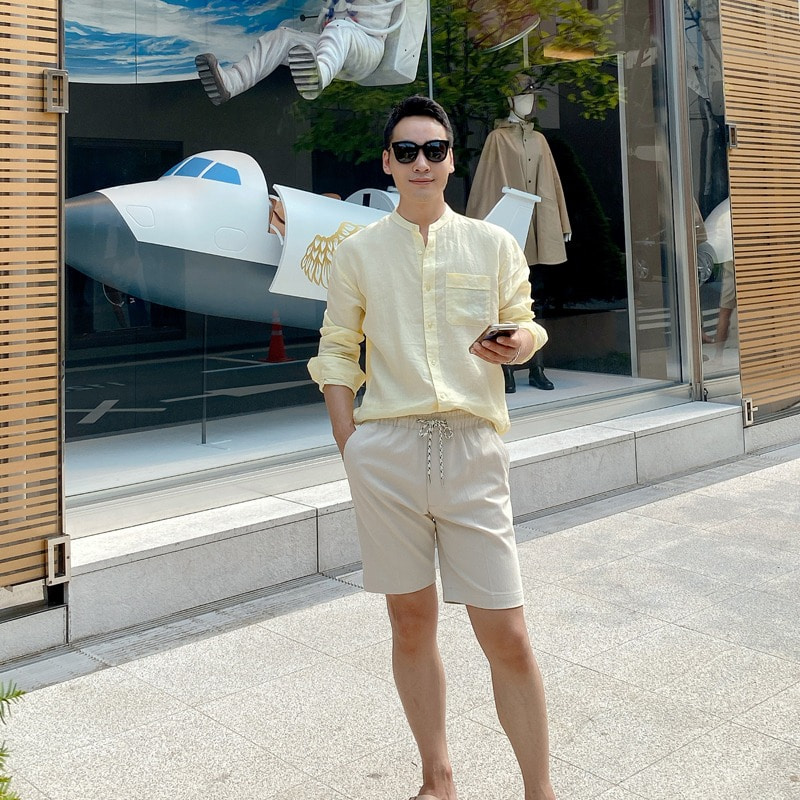 henly neck linen mans shirt(yellow)